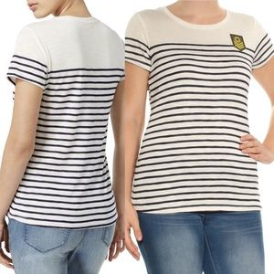 Maison Jules Ivory Metallic Striped T-shirt size L